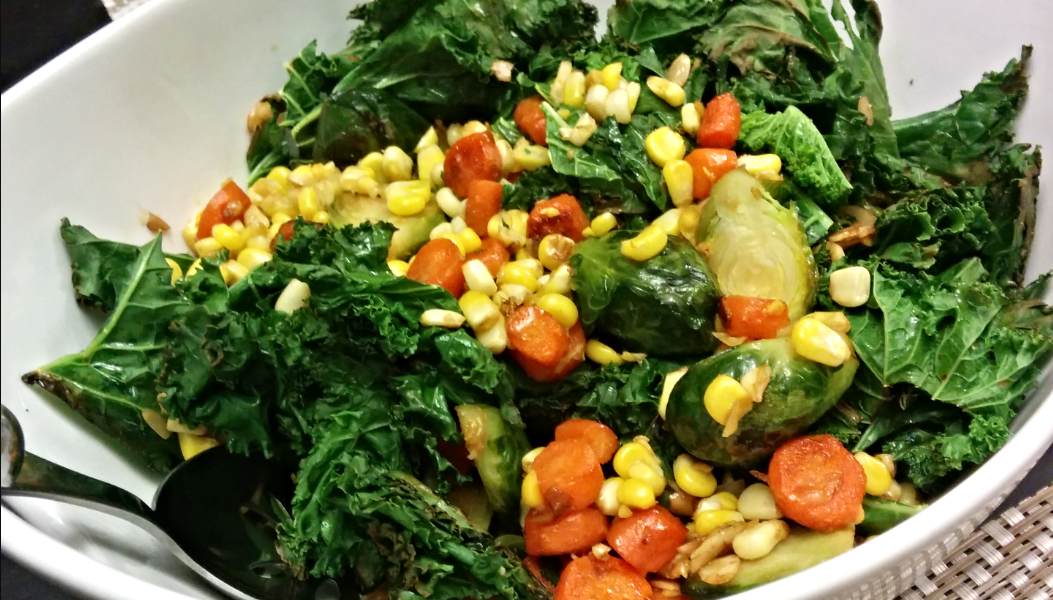 Warm Kale Salad with Caramelized Veggies